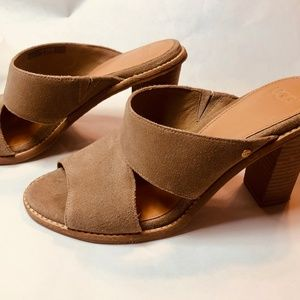 UGG Celia Sandals 7.5  - Taupe Suede Mules;